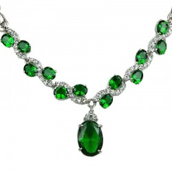 Emerald Green Oval Rhinestone Clear Diamante Dress Necklace