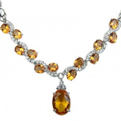 Amber Brown Oval Rhinestone Clear Diamante Dress Necklace