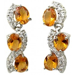 Fashion Bridal Jewellery, Costume Jewelry Dangle Earrings, Women Gifts, Amber Oval Rhinestone Clear Diamante Dress Drop Earrings