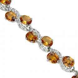 Wedding Costume Jewelry Bracelets UK, Fashion Bridal Jewellery, Amber Oval Rhinestone Clear Diamante Dress Tennis Bracelet