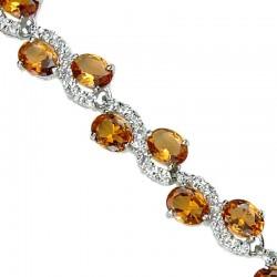 Wedding Costume Jewelry Bracelets UK, Fashion Bridal Jewellery, Amber Oval Rhinestone Clear Diamante Dress Tennis Bracelet