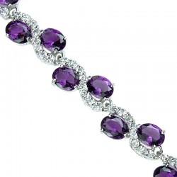 Costume Wedding Jewelry Bracelets, Fashion Bridal Jewellery, Gifts, Purple Oval Rhinestone Clear Diamante Dress Tennis Bracelet