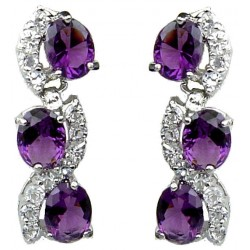 Fashion Bridal Jewellery, Costume Jewelry Dangle Earrings, Women Gift, Purple Oval Rhinestone Clear Diamante Dress Drop Earrings