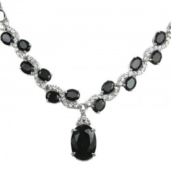 Bridal Fashion Jewellery, Costume Jewelry Necklaces, Woman Gift, Black Oval Rhinestone Clear Diamante Dress Necklace