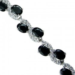 Costume Jewelry Bracelets, Fashion Wedding Jewellery, Women Gifts, Black Oval Rhinestone Clear Diamante Dress Tennis Bracelet