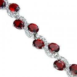 Women Fashion Jewelry UK, Costume Bridal Jewellery, Wedding gifts, Ruby Red Oval Rhinestone Clear Diamante Dress Tennis Bracelet