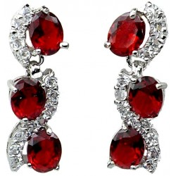 Ruby Red Oval Rhinestone Clear Diamante Dress Drop Earrings