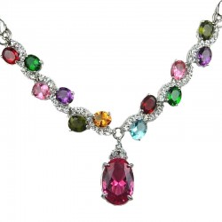 Costume Jewelry UK, Fashion Jewellery, Women Wedding Gift, Mixed Colour Oval Rhinestone Clear Diamante Dress Necklace