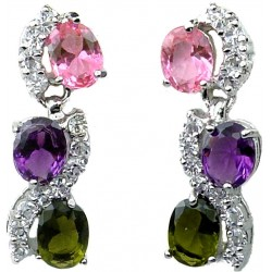 Bridal Costume Jewelry UK, Fashion Wedding Jewellery, Multi Coloured Oval Rhinestone Clear Diamante Dress Drop Earrings