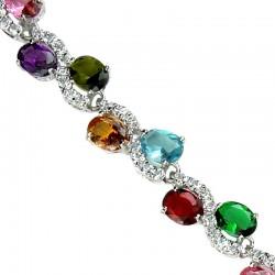 Fashion Wedding Jewellery, Costume Jewelry UK, Multi Coloured Oval Rhinestone Clear Diamante S-Shaped Dress Tennis Bracelets