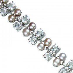 Multi Coloured Pearl Clear Diamante Bracelet