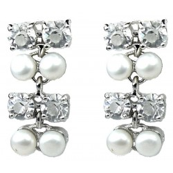 Fashion Bridal Jewelry UK, Wedding Costume Jewellery, Women Gifts White Faux Pearl Clear Diamante Dress Drop Earrings