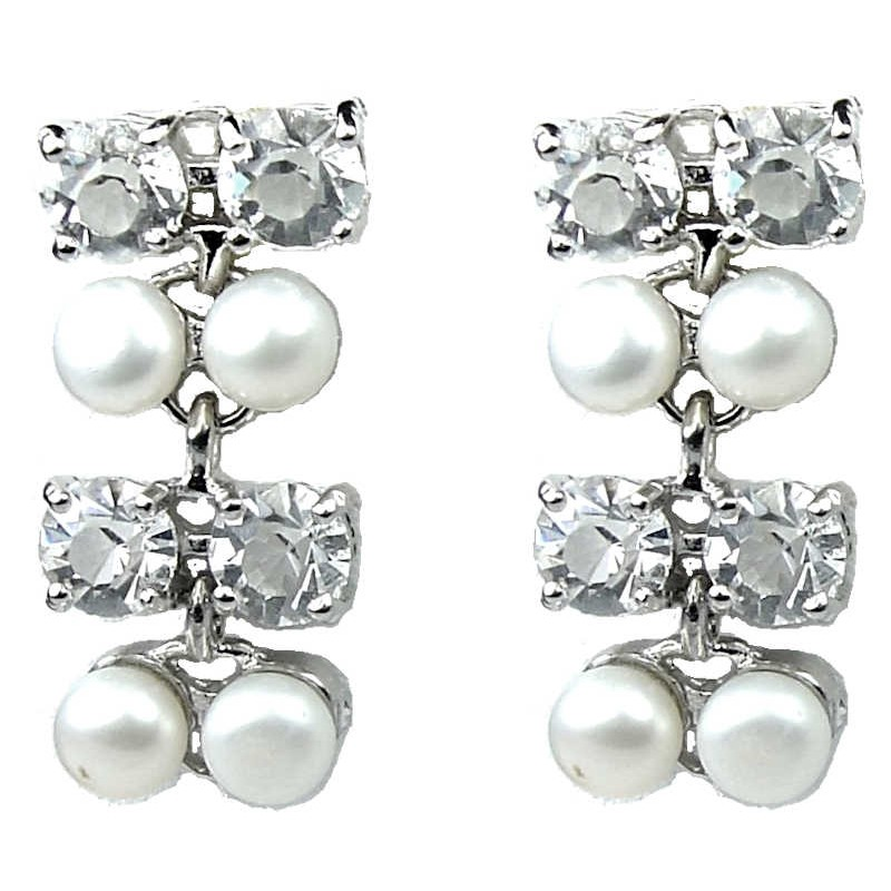 Fashion Bridal Jewelry Uk Wedding Costume Jewellery Women Gifts White Faux Pearl Clear Diamante Loading Zoom