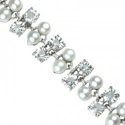 Fashion Bridal Jewellery, Wedding Costume Jewelry Bracelets UK, Women Gifts, White Faux Pearl Clear Diamante Bracelet
