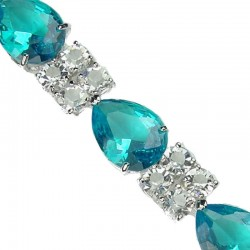 Fashion Wedding Jewelry UK, Bridal Costume Jewellery Bracelets, Blue Teardrop Rhinestone Clear Diamante Dress Bracelet