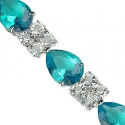 Fashion Wedding Jewelry UK, Bridal Costume Jewellery Bracelets, Blue Teardrop Rhinestone Clear Diamante Dress Bracelet