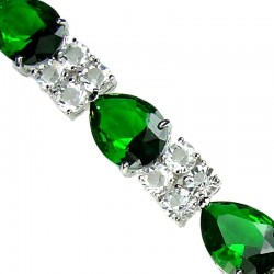 Costume Jewelry Bracelets UK, Fashion Wedding Jewellery Gifts, Green Teardrop Rhinestone Clear Diamante Dress Bracelet
