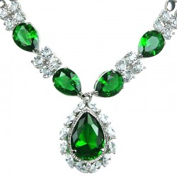 Costume Jewellery Necklaces UK, Fashion Wedding Jewelry, Women Gift, Green Teardrop Rhinestone Clear Diamante Dress Necklace