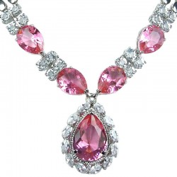 Bridal Costume Jewellery, Fashion Jewelry Necklaces, Wedding Gifts, Pink Teardrop Rhinestone Clear Diamante Dress Necklace