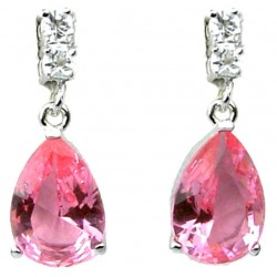 Pink Teardrop Rhinestone Clear Diamante Dress Drop Earrings