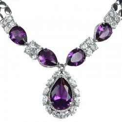 Purple Teardrop Rhinestone Clear Diamante Dress Necklace