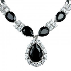 Black Teardrop Rhinestone Clear Diamante Dress Necklace