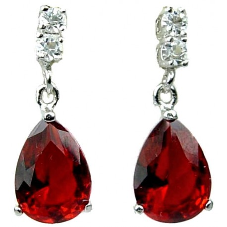 Bridal Costume jewelry UK/Wedding Jewellery, Fashion Women Gift, Ruby Red Teardrop Rhinestone Clear Diamante Dress Drop Earrings