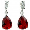 Ruby Red Teardrop Rhinestone Clear Diamante Dress Drop Earrings