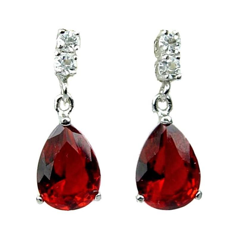 Chunky earrings Sterling silver Big bold earrings Wedding Earrings Red drop earrings Ruby red earrings Crystal earrings
