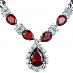 Ruby Red Teardrop Rhinestone Clear Diamante Dress Necklace