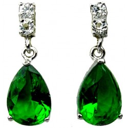 Emerald Green Teardrop Rhinestone Clear Diamante Dress Drop Earrings