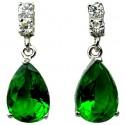 Emerald Green Teardrop Rhinestone Clear Diamante Dress Drop Earrings