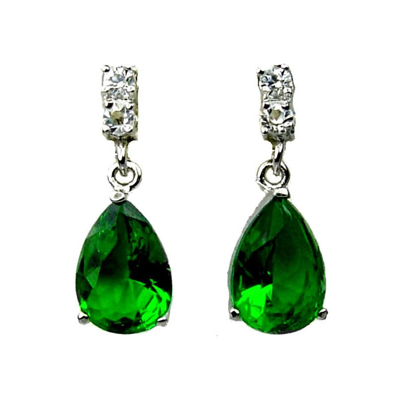 Wedding Costume Jewellery Fashion Jewelry Gift Uk Emerald Green Teardrop Rhinestone Clear Diamante Loading Zoom