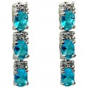 Blue Oval Cubic Zirconia Crystal CZ Short Drop Earrings