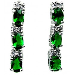 Small Costume Jewellery, Fashion Petite Jewelry, short drop earrings UK, Emerald Green Oval Crystal CZ Short Drop Earrings