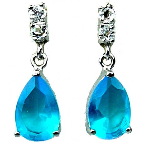 Bridal Wedding Jewellery. Fashion Jewelry Dangle Earrings, Blue Teardrop Rhinestone Clear Diamante Dress Drop Costume earrings