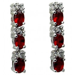 Small Fashion Women Jewellery Gifts, Cubic Zirconia Costume Jewellery UK, Red Oval Crystal CZ Short Drop Earrings