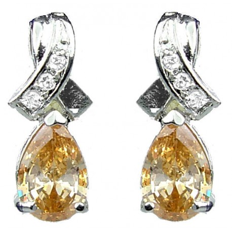 Wedding Costume Jewelry UK, Dressy Fashion Jewellery, Woman Gift, Classic Crossover Kiss Brown Teardrop Crystal CZ Earrings