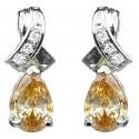 Crossover Kiss Brown Teardrop Cubic Zirconia Crystal CZ Earrings