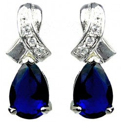 Women Gifts, Bridal Costume Jewelry UK|Dressy Fashion Jewellery Earrings, Crossover Kiss Royal Blue Teardrop Crystal CZ Earrings