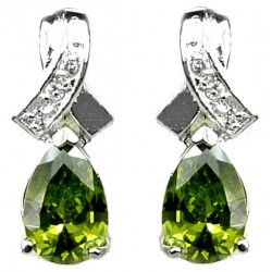 Women Fashion Jewelry UK, Cubic Zirconia Costume Jewellery Earrings, Crossover Kiss Olive Green Teardrop Crystal CZ Earrings
