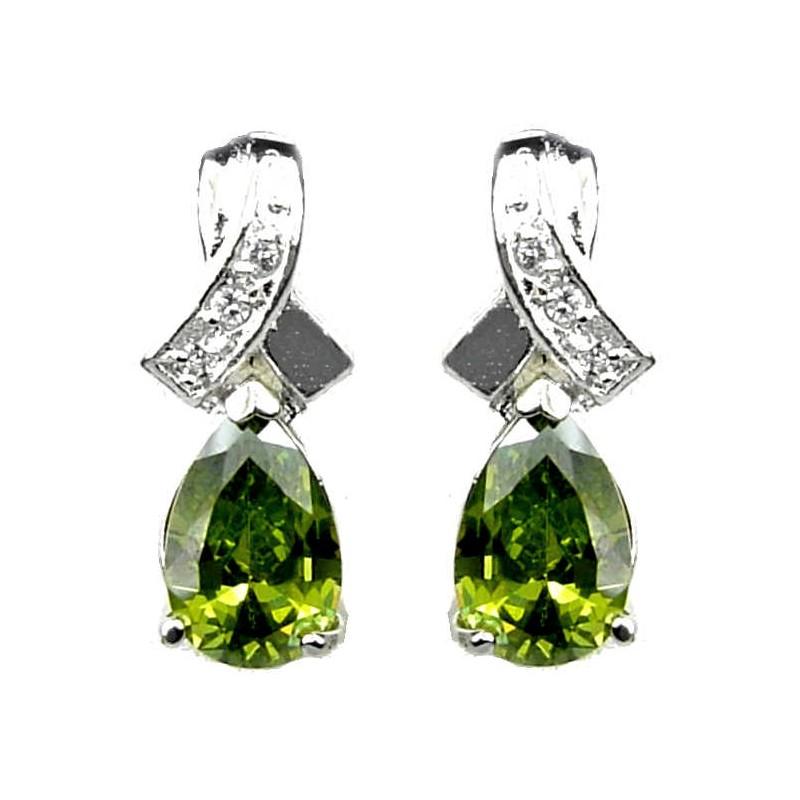 Women Fashion Jewelry Uk Cubic Zirconia Costume Jewellery Earrings Crossover Kiss Olive Green Teardrop Loading Zoom
