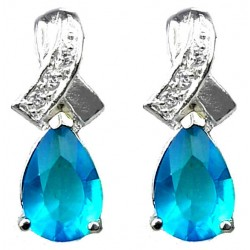 Cubic Zirconia Fashion Jewelry UK, Dressy Costume Jewellery, Women Gifts, Crossover Kiss Blue Teardrop Crystal CZ Earrings