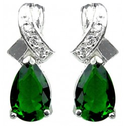 Classic Fashion Jewelry UK, Wedding Costume Jewellery, Women Gifts, Crossover Kiss Emerald Green Teardrop Crystal CZ Earrings