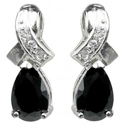 Classic Costume Jewellery, Fashion Cubic Zirconia Jewelry UK, Women Gift, Crossover Kiss Black Teardrop Crystal CZ Earrings
