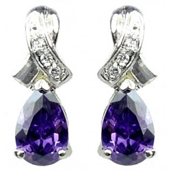 Bridal Costume Jewelry UK, Cubic Zirconia Fashion Jewellery, Woman Gifts, Crossover Kiss Purple Teardrop Crystal CZ Earrings