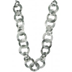 Silver Spiral interlocking Circle Long Chain Necklace