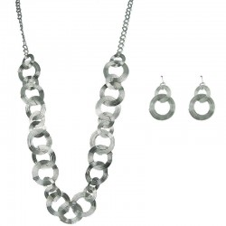 Costume Jewellery Sets, Fashion Jewelry Sets, Silver Spiral Interlocking Circle Long Necklace and Earrings Jewellery Set