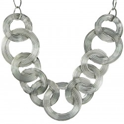 Costume Jewelry UK, Fashion Jewellery Necklaces, Women Gifts, Silver Spiral Swirl Circle Interlocking Long Chain Necklace