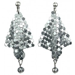 Silver Metal Mesh Chandelier Drop Earrings